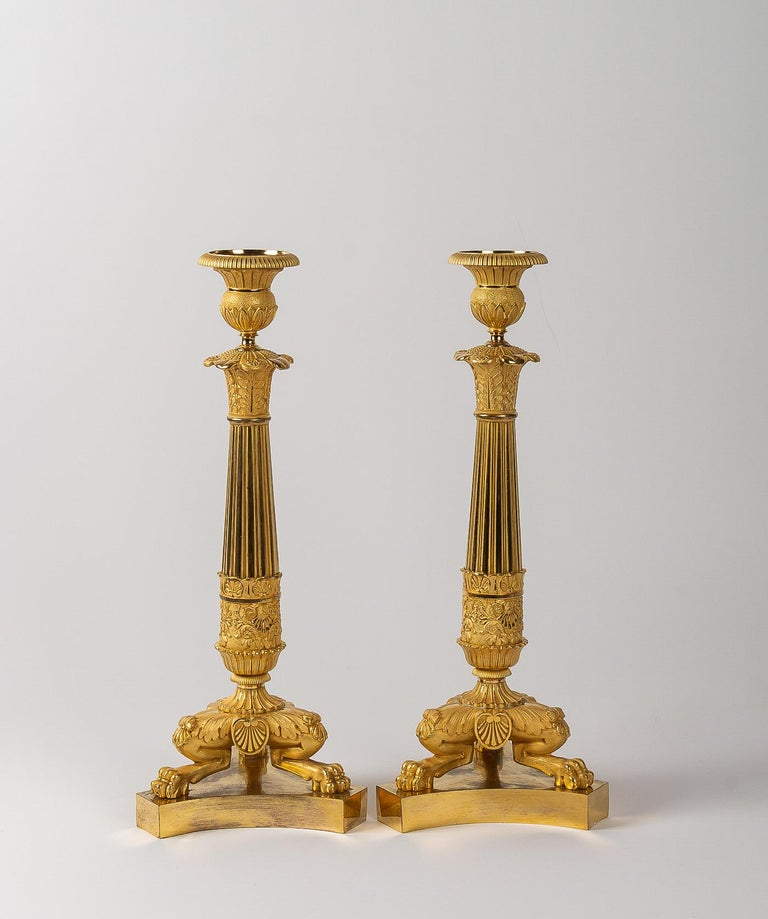 French Restoration Period, Pair of Large Bronze Candlesticks, circa 1815-1830 For Sale 9