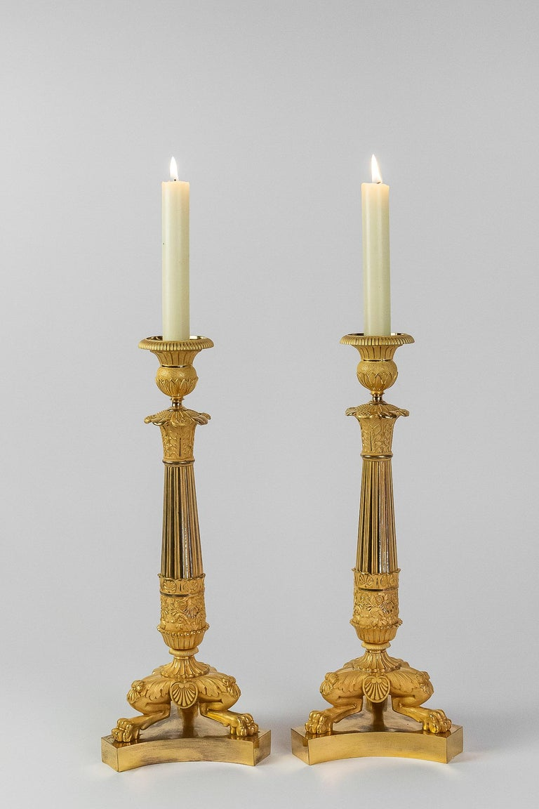 French restoration period, pair of large bronze candlesticks, circa 1815-1830.