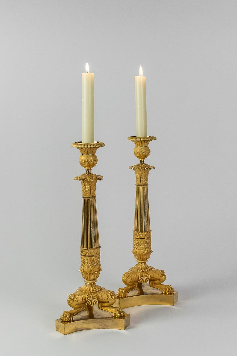 Restauration French Restoration Period, Pair of Large Bronze Candlesticks, circa 1815-1830 For Sale