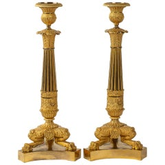 French Restoration Period, Pair of Large Bronze Candlesticks, circa 1815-1830