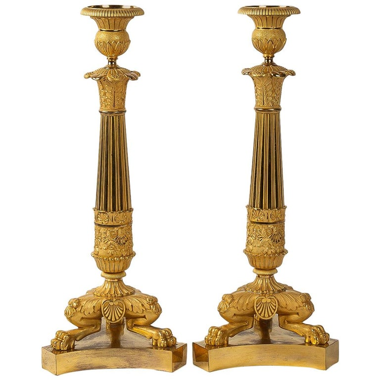 French Restoration Period, Pair of Large Bronze Candlesticks, circa 1815-1830 For Sale