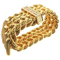 French Retro 18 Karat Braided Gold Tassel Bracelet