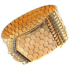 French Retro 18 Karat Yellow Gold Diamond Buckle Bracelet