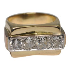 French Retro 1940s Diamond Ring