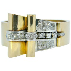 French Retro 1950s Diamond Yellow Gold Platinum Bangle Bracelet