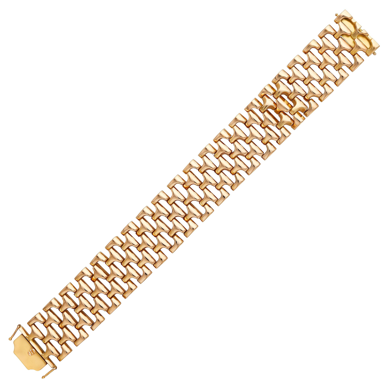 French Retro 1960s 18 Karat Rose Gold Link Bracelet