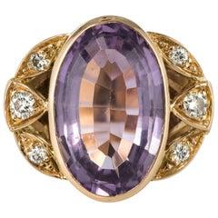 French Retro 1970s Amethyst Diamonds Ring
