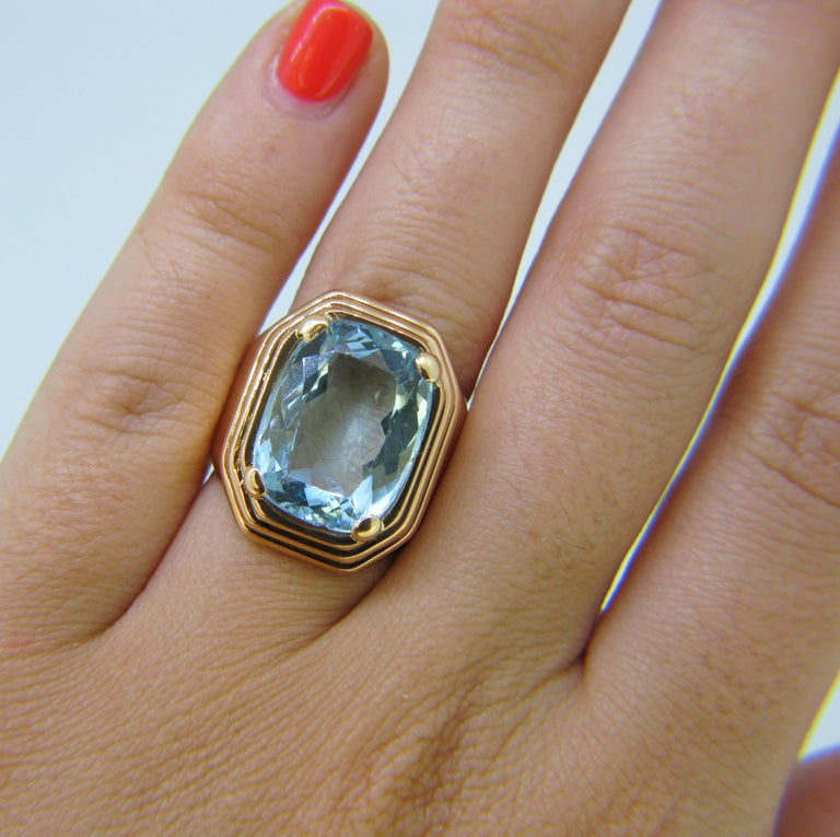 French Retro Aquamarine Rose Gold Cocktail Ring For Sale 2