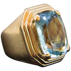 French Retro Aquamarine Rose Gold Cocktail Ring