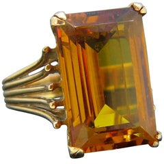 French Retro Citrine Yellow Gold Cocktail 1950s Ring