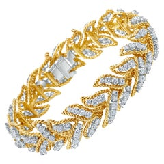 French Retro Diamond 18 Karat Yellow Gold Bracelet