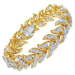 French Retro Diamond 18 Karat Yellow Gold Bracelet