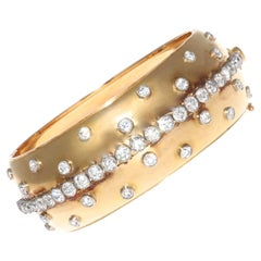 French Retro Diamond Gold Bangle