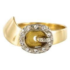 French Retro Diamond Gold Belt Ring