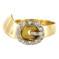 French Retro Diamond Gold Belt Ring