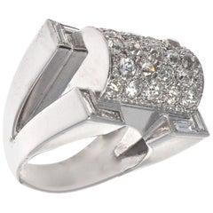 French Retro Diamond Platinum Cocktail Ring