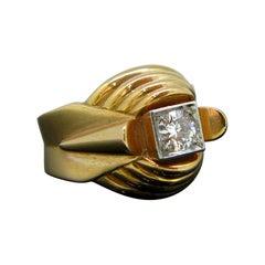 French Retro Diamond Yellow Gold and Platinum Ring