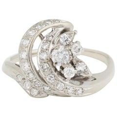 French Retro Diamonds 18 Karat White Gold Ring