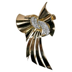 French Retro, Gold and Diamond Bow Brooch Long