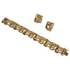 French Retro Gold and Diamond Bracelet and Earrings Suite by Cartier