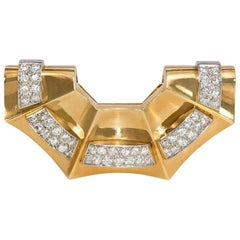 French Retro Gold and Diamond Fan-Shaped Clip Brooch, Wearable as a Pendant
