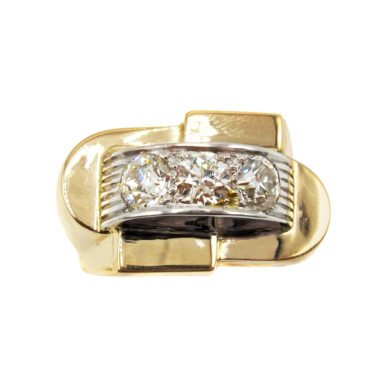 French Retro Gold Old European Cut Diamond Ring