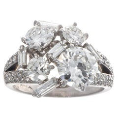 French Retro Mellerio GIA 1.88 Carat Multi Diamond Platinum Ring