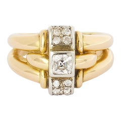 French Retro Old Cut Cushion Diamond 18 Karat Yellow Gold and Platinum Ring