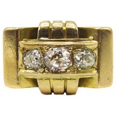 French Retro Old European Cut Diamond 18 Karat Rose Gold Ring