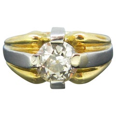 French Retro Old Mine 2 Carat Diamond Yellow Gold and Platinum Ring