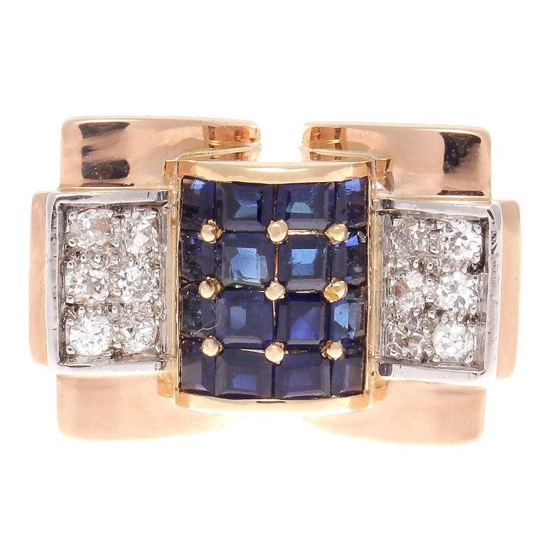 French Retro Sapphire Diamond Rose Gold Ring