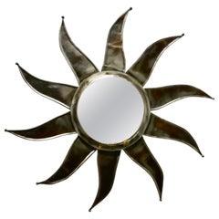 French Retro Sunburst Industrial Look Polished Steel Mirror