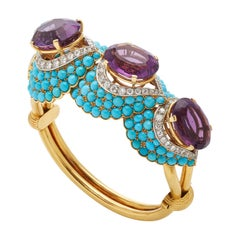 French Retro Turquoise Amethyst Diamond Gold Bracelet