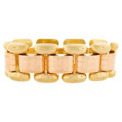 French Retro Vintage 18k Green & Rose Gold Wide Grooved Link Bracelet 68g
