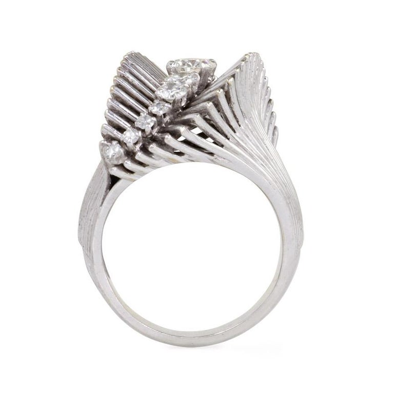 Round Cut French Retro White Gold and Diamond Ring of Flared and Swirl Design For Sale