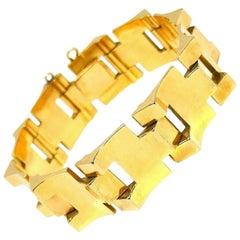 French Retro Yellow Gold Tank Track Bracelet