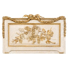 French Ribbon, Floral and Grapevine Carved Rectangular-Shaped Wall Plaque
