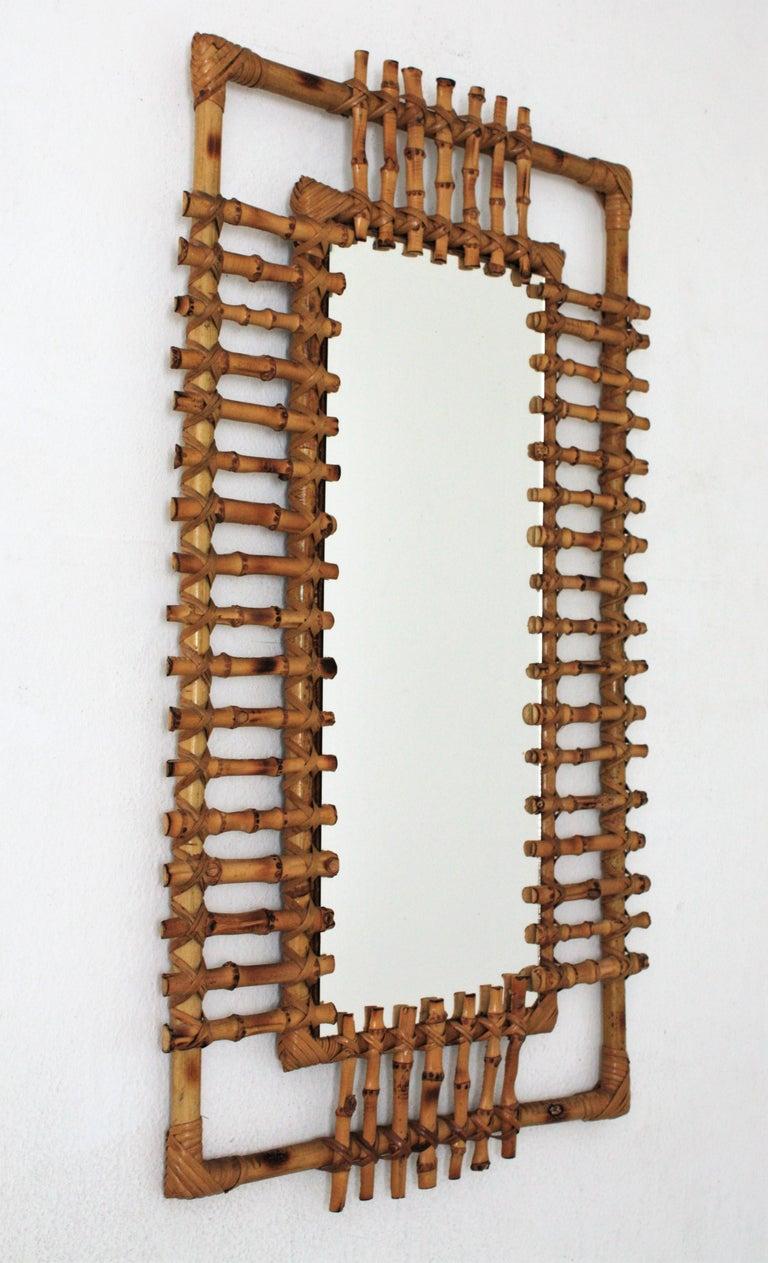 Mid-Century Modern Rattan Rectangular Sunburst Mirror from France, 1950s For Sale