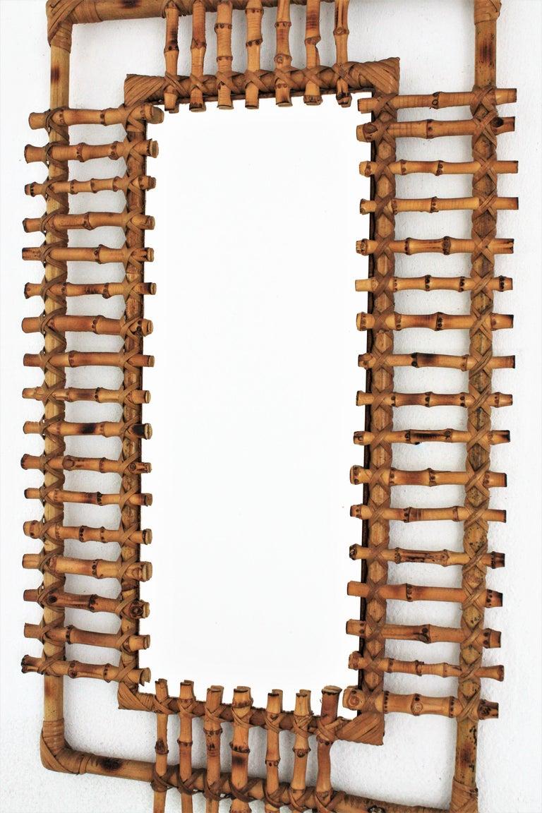 Bamboo Rattan Rectangular Sunburst Mirror from France, 1950s For Sale