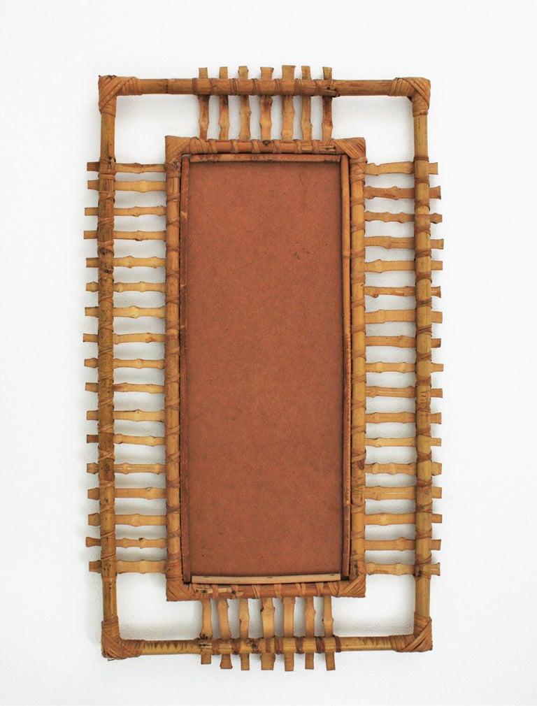Rattan Rectangular Sunburst Mirror from France, 1950s For Sale 1