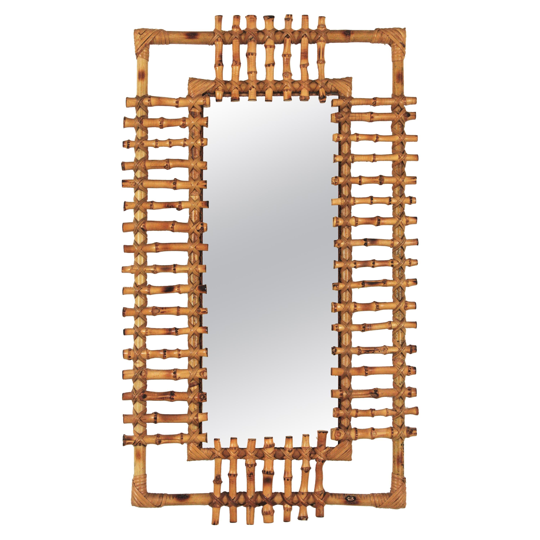Rattan Rectangular Sunburst Mirror from France, 1950s