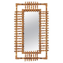 French Riviera 1950s Bamboo and Rattan Rectangular Sunburst Mirror