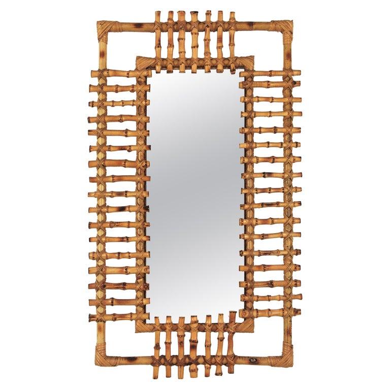 Rattan Rectangular Sunburst Mirror from France, 1950s For Sale