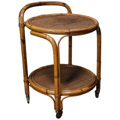French Riviera Bamboo and Rattan Bar Cart, France, circa 1960