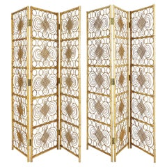 French Riviera Bamboo and Rattan Room Divider or Folding Screen, 1970s