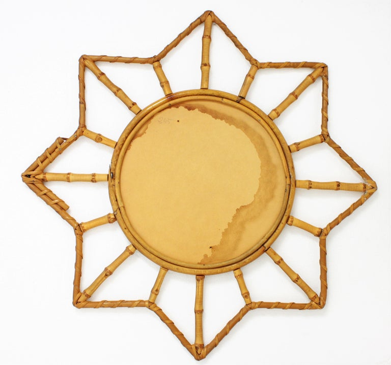 French Riviera Bamboo and Rattan Starburst Sunburst Mirror, France, 1950s For Sale 4