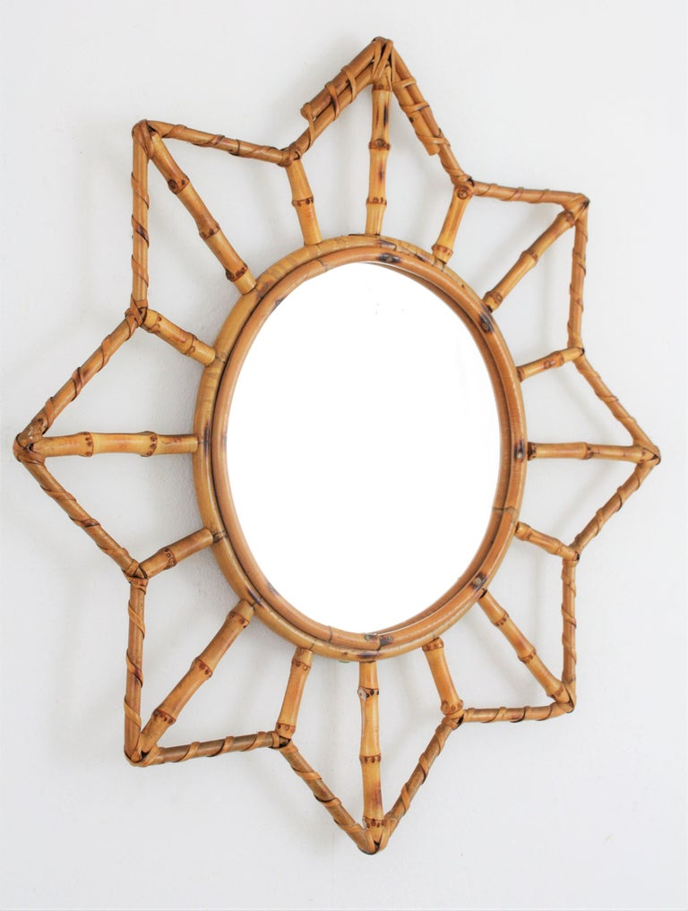 Mid-Century Modern French Riviera Bamboo and Rattan Starburst Sunburst Mirror, France, 1950s For Sale