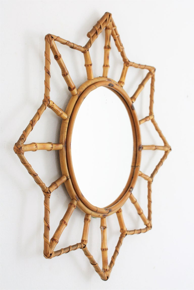 Hand-Crafted French Riviera Bamboo and Rattan Starburst Sunburst Mirror, France, 1950s For Sale