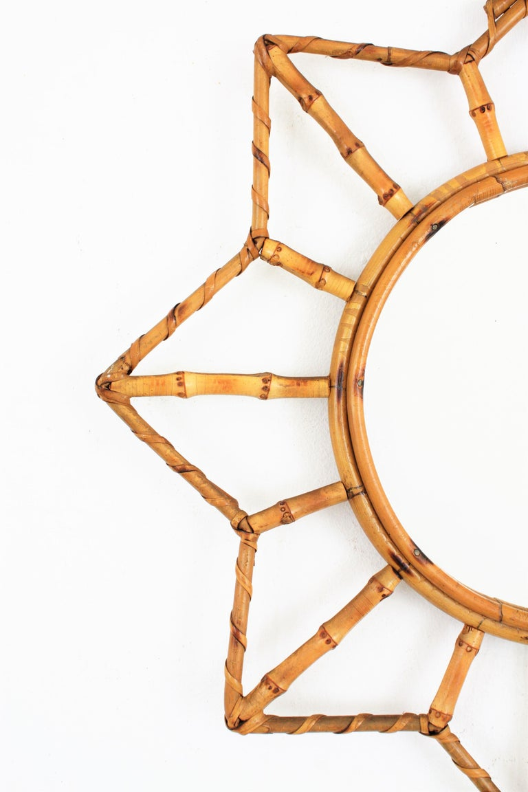 French Riviera Bamboo and Rattan Starburst Sunburst Mirror, France, 1950s In Excellent Condition For Sale In Barcelona, ES