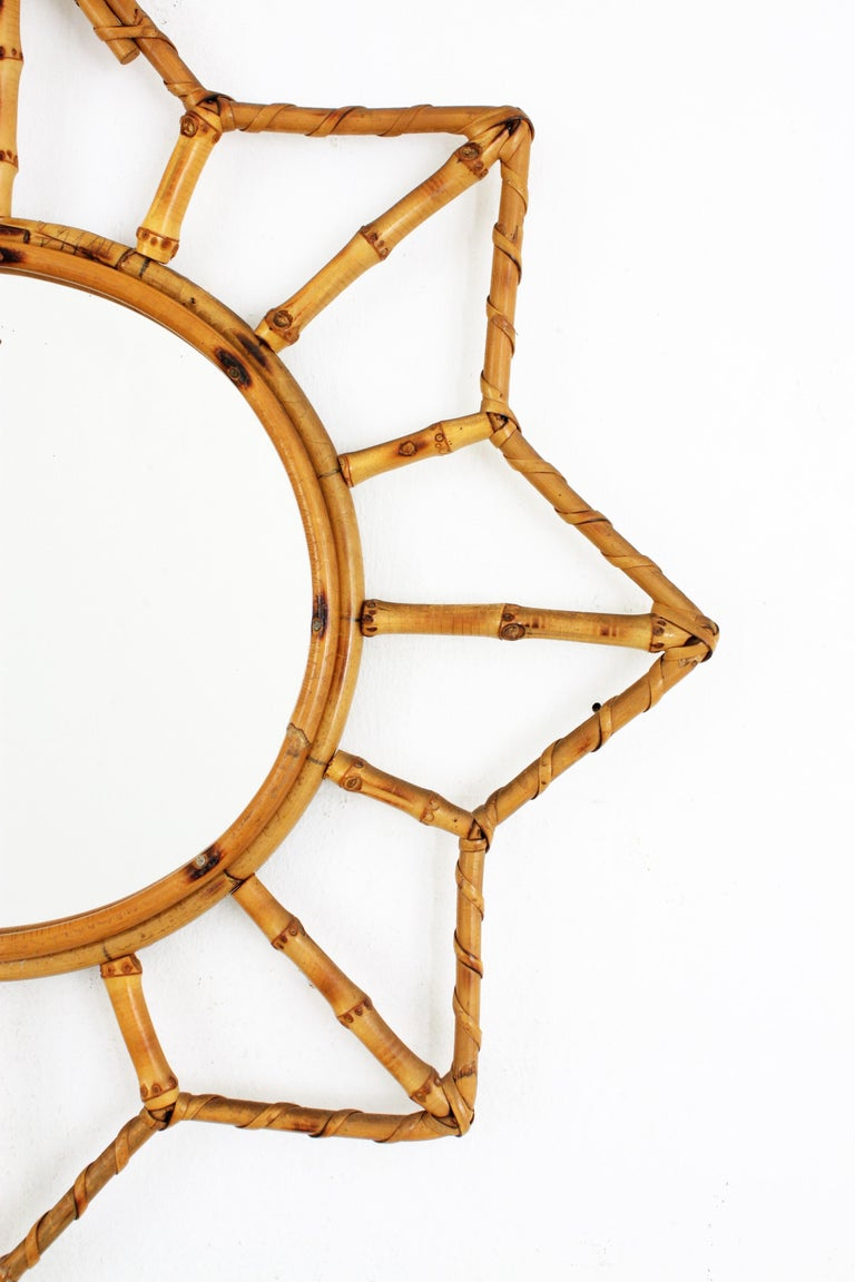 20th Century French Riviera Bamboo and Rattan Starburst Sunburst Mirror, France, 1950s For Sale